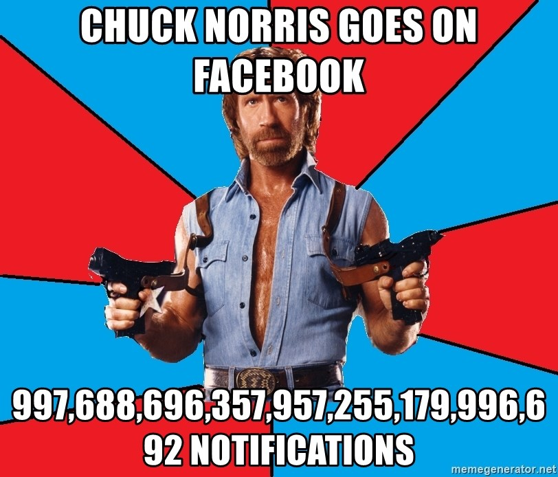 Chuck Norris  - Chuck Norris Goes on Facebook 997,688,696,357,957,255,179,996,692 notifications
