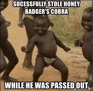Third World Success - Sucessfully stole honey badger's cobra while he was passed out