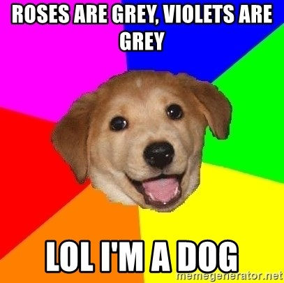 Advice Dog - Roses are Grey, Violets are Grey LOL I'm a dog