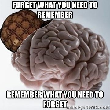 Scumbag Brain - FORGET WHAT YOU NEED TO REMEMBER REMEMBER WHAT YOU NEED TO FORGET