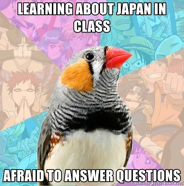 Former Otaku Finch - learning about japan in class afraid to answer questions