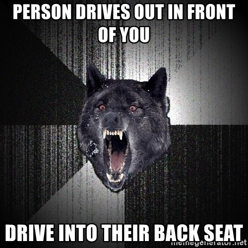 Insanity Wolf - person drives out in front of you drive into their back seat