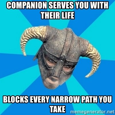 skyrim stan - Companion serves you with their life blocks every narrow path you take