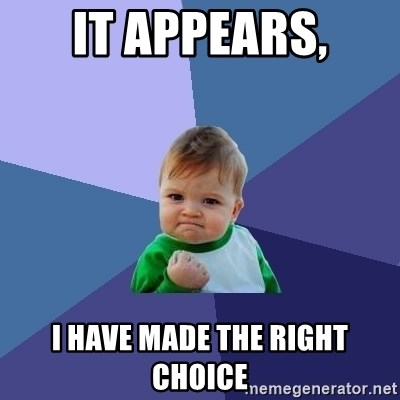 Success Kid - It appears, I have made the right choice