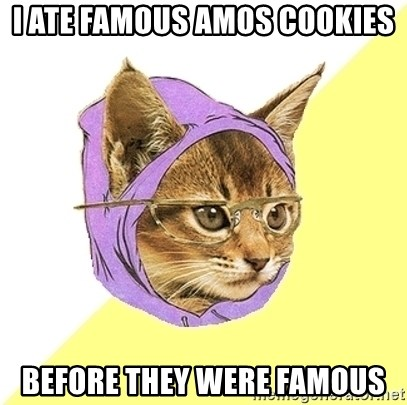 Hipster Kitty - i ate famous amos cookies before they were famous