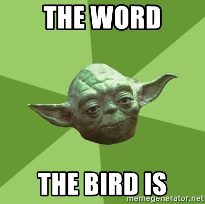 Advice Yoda Gives - the word the bird is