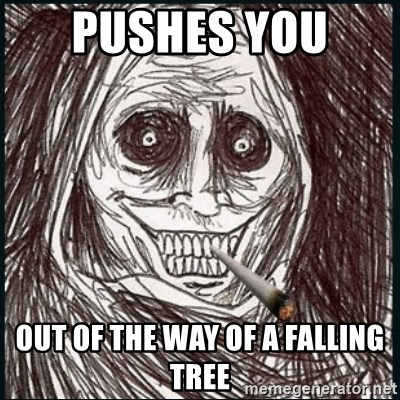 Good Guy Ghost  - pushes you  out of the way of a falling tree