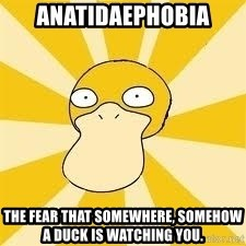 Conspiracy Psyduck - ANATIDAEPHOBIA the fear that somewhere, somehow a duck is watching you.