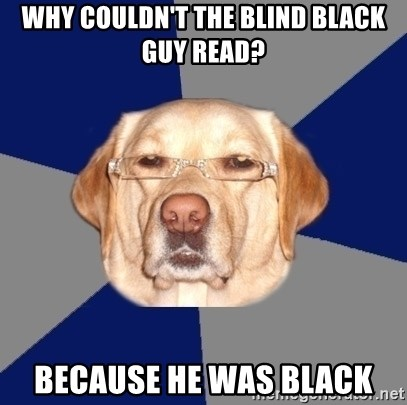 Racist Dawg - why couldn't the blind black guy read? because he was black