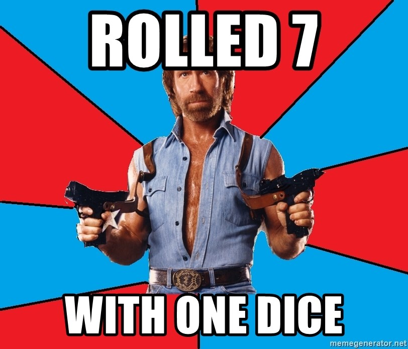 Chuck Norris  - Rolled 7 with one dice