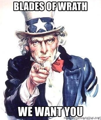 Uncle Sam - BLADES OF WRATH WE WANT YOU