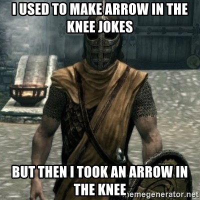 skyrim whiterun guard - I used to make arrow in the knee jokes but then i took an arrow in the knee