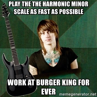 Progressive Guitarist - PLay the the harmonic minor scale as fast as possible work at Burger king for ever