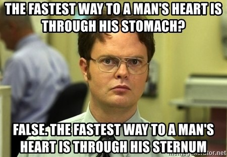 Dwight Schrute - The fastest way to a man's heart is through his stomach? false. The fastest way to a man's heart is through his sternum