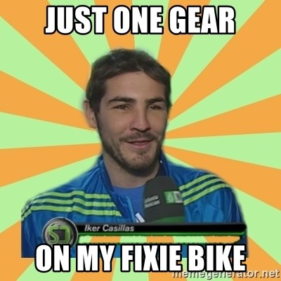Iker Casillas - Just one gear on my fixie bike