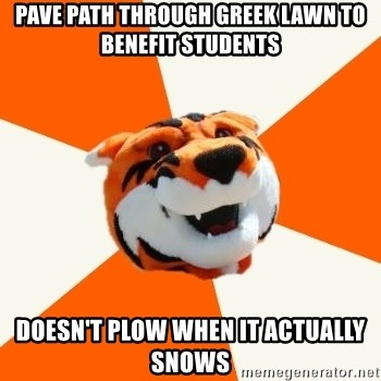 Idea Ritchie - Pave path through greek lawn to benefit students Doesn't plow when it actually snows