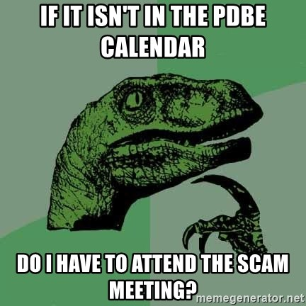 Raptor - If it isn't in the PDBE calendar Do I have to attend the SCAM meeting?