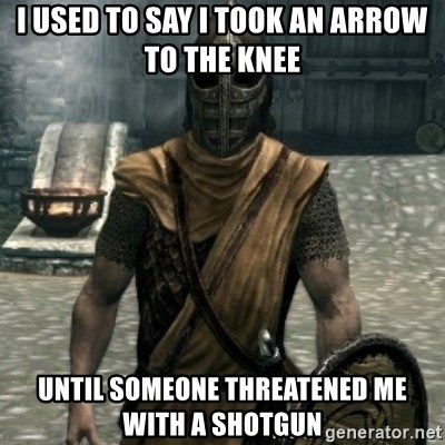 skyrim whiterun guard - I used to say I took an arrow to the knee until someone threatened me with a shotgun