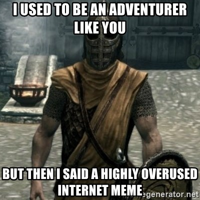 skyrim whiterun guard - I used to be an adventurer like you but then i said a highly overused internet meme