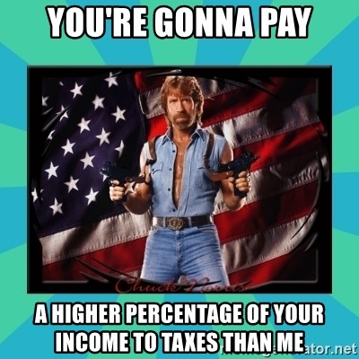 No Respect Norris - You're gonna pay a higher percentage of your income to taxes than me