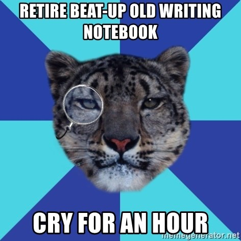 Writer Leopard - Retire beat-up old writing notebook cry for an hour