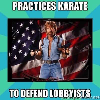 No Respect Norris - Practices karate to defend lobbyists