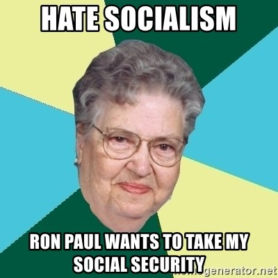 Evil Granny - hate socialism ron paul wants to take my social security