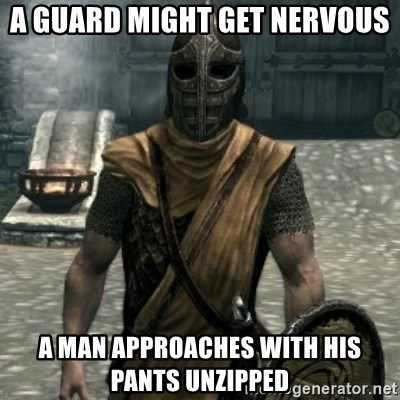 skyrim whiterun guard - A GUARD MIGHT GET NERVOUS A MAN APPROACHES WITH HIS PANTS UNZIPPED
