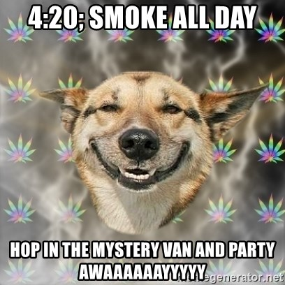 Stoner Dog - 4:20; smoke all day hop in the mystery van and party awaaaaaayyyyy