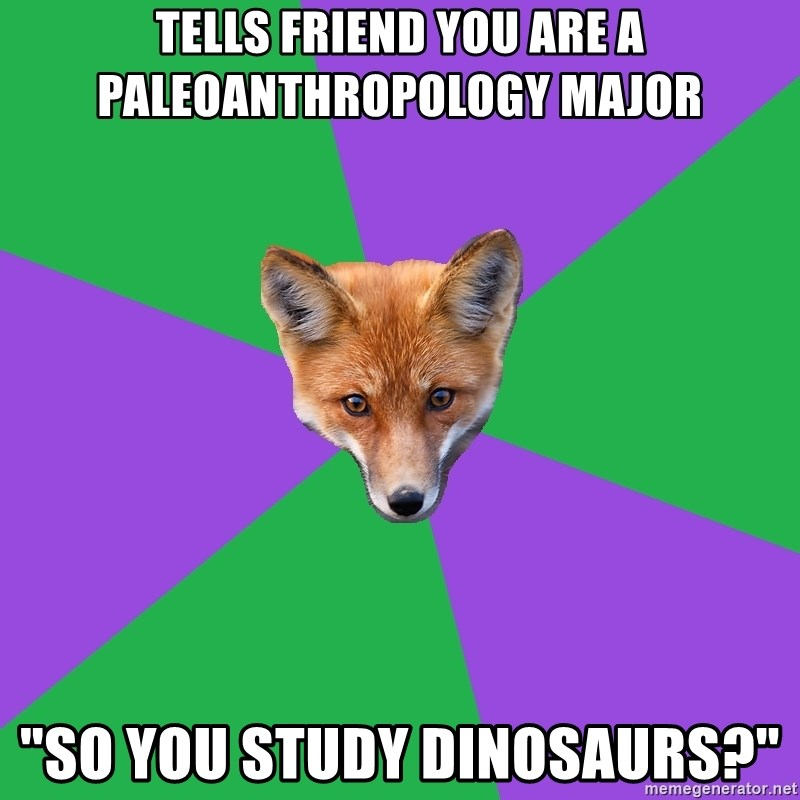 """Anthropology Major Fox - Tells friend you are a paleoanthropology major """"so you study dinosaurs?"""""""
