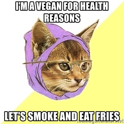 Hipster Kitty - i'm a vegan for health reasons let's smoke and eat fries