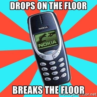 NOKIA 3310CHUCK2 - DROPS ON THE FLOOR BREAKS THE FLOOR