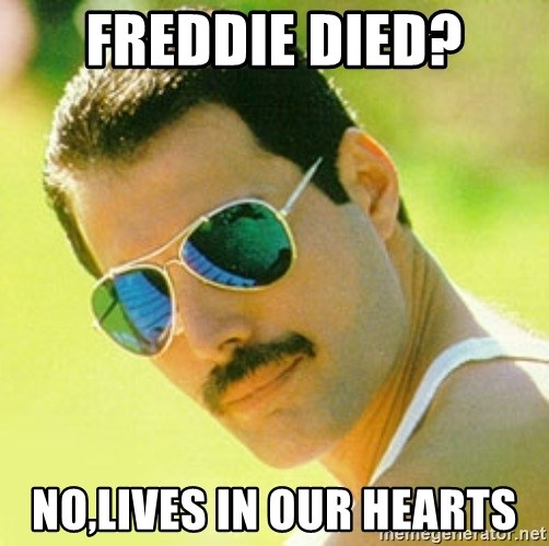 typical Queen Fan - Freddie died? no,lives in our hearts