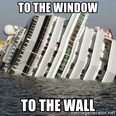 Sunk Cruise Ship - to the window to the wall