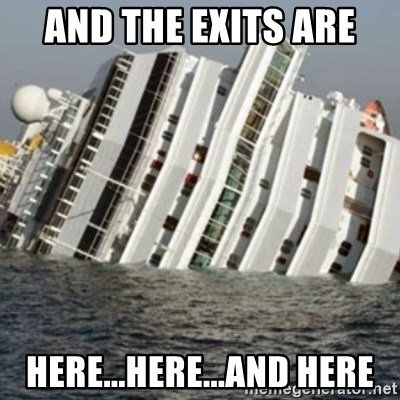 Sunk Cruise Ship - and the exits are here...here...and here