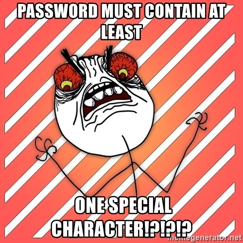 password must contain AT LEAST one special character