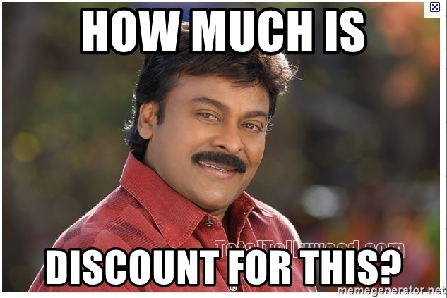 Typical Indian guy - How much is discount for this?