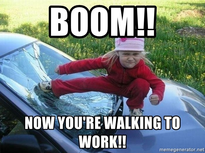 Angry Karate Girl - Boom!! Now you're walking to work!!