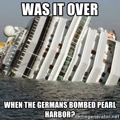 Sunk Cruise Ship - was it over when the germans bombed pearl harbor?