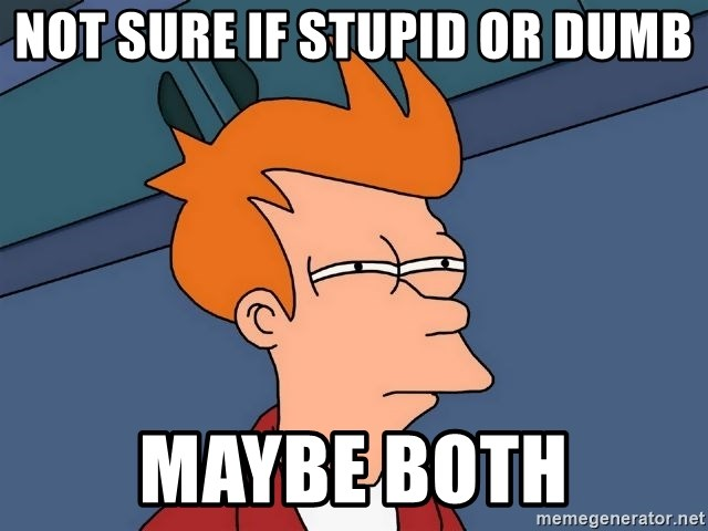 Futurama Fry - Not sure if stupid or dumb Maybe both