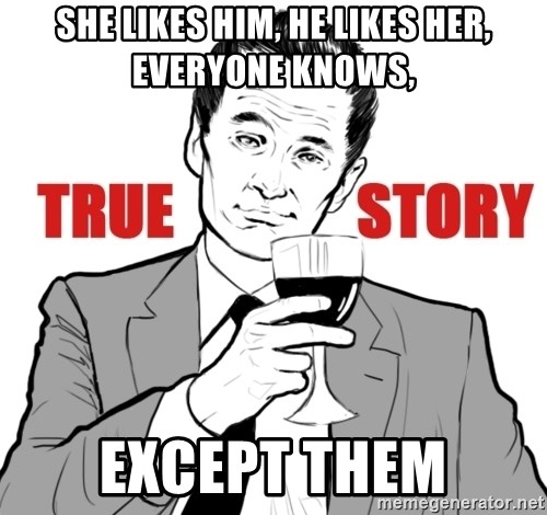 true story - She likes him, he likes her, everyone knows, EXCEPT THEM