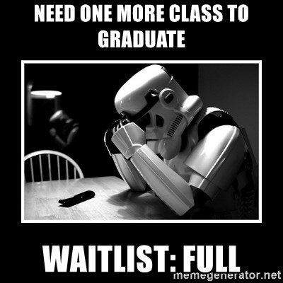 Sad Trooper - Need one more class to graduate Waitlist: Full