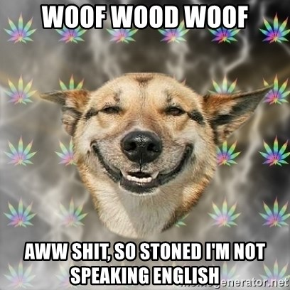Stoner Dog - Woof wood wooF Aww shit, so stoned I'm not speaking engliSh