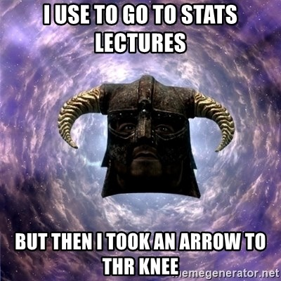 Skyrim - i use to go to stats lectures but then i took an arrow to thr knee