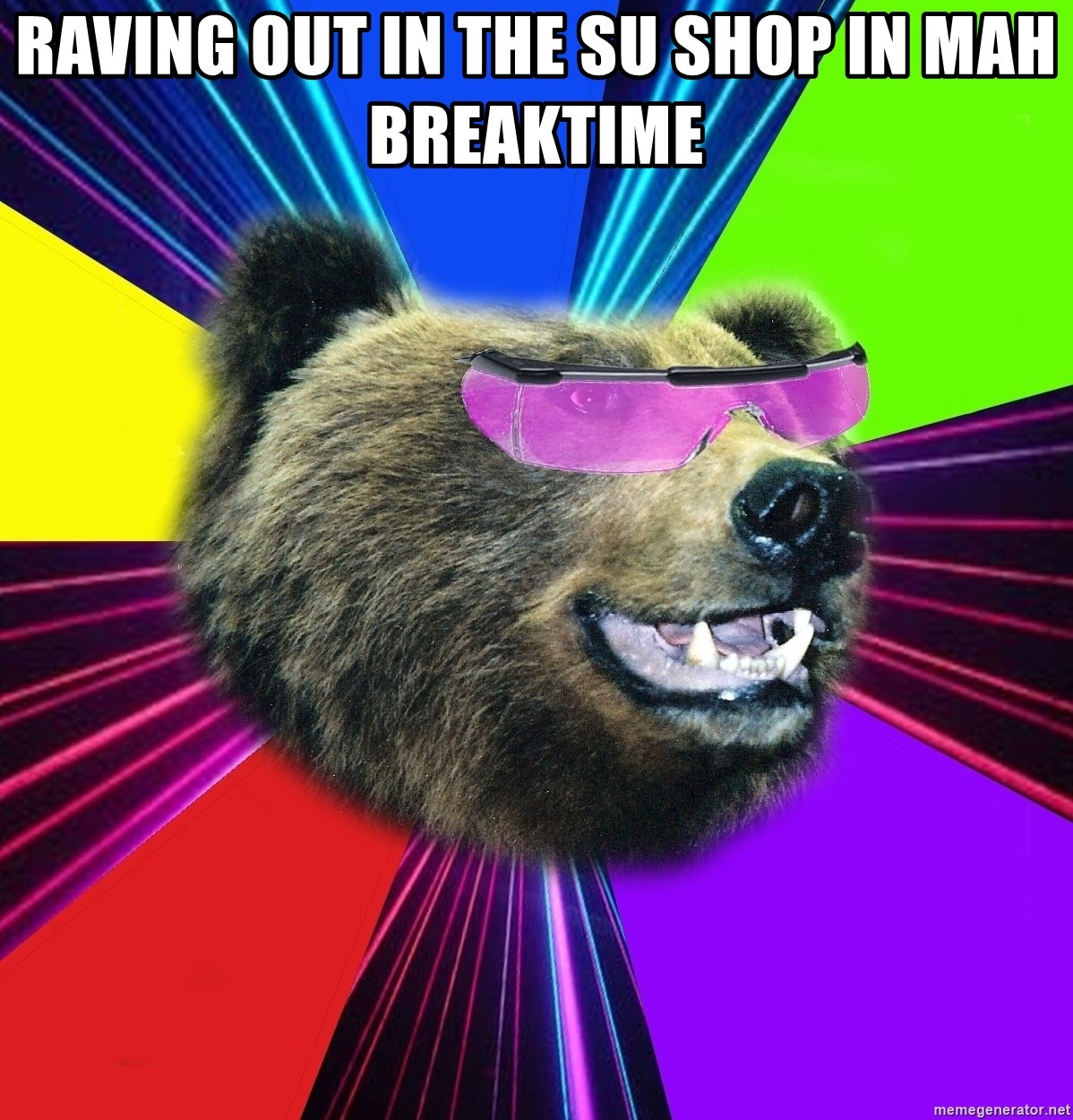 Party Bear - raving out in the su shop in mah breaktime