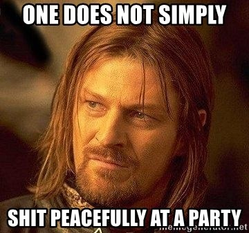 Boromir - ONE DOES NOT SIMPLY SHIT peacefully at a party