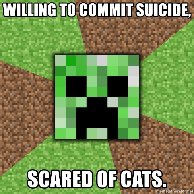 Minecraft Creeper - Willing to commit suicide, Scared of cats.