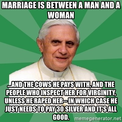 Morality Pope - marriage is between a man and a woman ...and the cows he pays with, and the people who inspect her for virginity, unless he raped her-- in which case he just needs to pay 30 silver and it's all good.