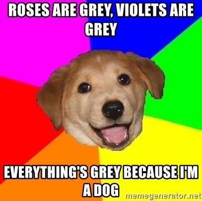 Advice Dog - roses are grey, violets are grey everything's grey because i'm a dog