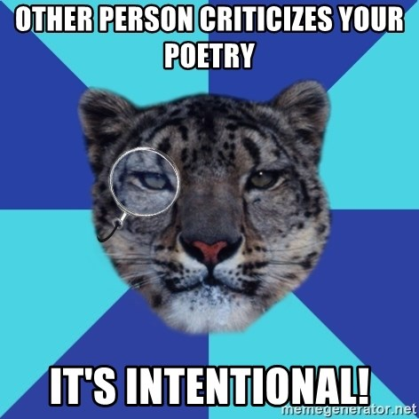 Writer Leopard - Other person criticizes your poetry it's intentional!